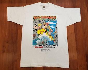 Vintage Big Johnson Spoof Shirt, Vintage Biker Shirt, 90s Throw Back Shirt, Size L