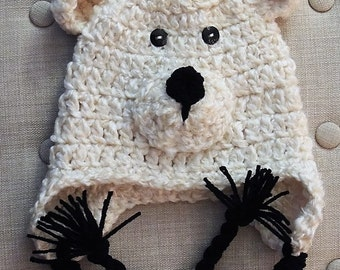 Crochet Polar Bear Hat, LuvBeanies, Crochet hats for kids, Boy Hats, Bear Hats, Braided hats, Animal Hats, Photo props, Infant hats