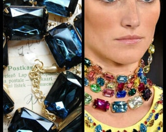 """chunky blue statement necklace, collet, Anna Wintour, navy blue necklace, Montana Sapphire, Art Deco, Georgian, Sacred Cake.  """"In the Navy"""""""