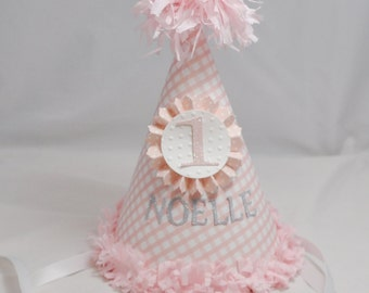 Gingham Birthday Hat, 1st Birthday Girl,  Personalized Party Hat, Cake Smash Hat, First Birthday Hat, Photo Prop, Birthday Party Hat