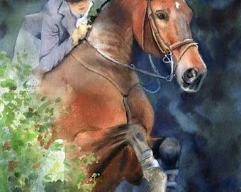 Thoroughbred HunterJumper Horse Art Print Painting Art Equine Equestrian