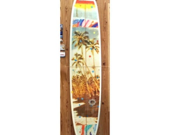 Special Collector's One-of-a-Kind Board with Bing Surfboards, 9ft.2in. Bing Pintail Hand-Painted, Hand-Shaped Wickstrand Collab. Limited Ed.
