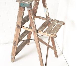 Primitive Wood Painter's Ladder, Rustic Home Display, Vintage Step Stool, Photography Prop