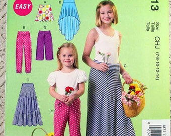 McCall's 7113, Girls' Skirt and Pants Sewing Pattern, Easy Sewing Pattern, Child's Pattern, Girls' Size 7, 8, 10, 12, 14, Uncut