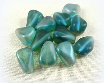 Satin Finish Teal Teardrop Beads, 12mm Teal Celsian Drops, Teal Czech Beads, Teal Blue Teardrops, Czech Glass Beads, (DRO/RJ-3204) - Qty. 6