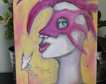 "THE FOOL original acrylic artwork 9x12"""