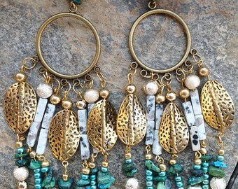 TRIBAL Handmade Earrings, Boho, Dangle, Festival, Turquoise, Western, Native, Celebrity, Runway, Unique (Goddess of the Jungle Earrings)