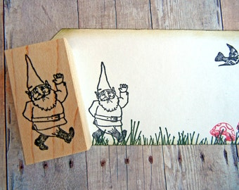 Elf Gnome Rubber Stamp - Handmade rubber stamp by BlossomStamps