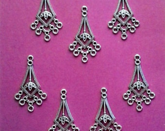 "Antique Silver Filigree Chandeliers - 1 1/2"" x 7/8"" - Sets of 7                                                             05/18"