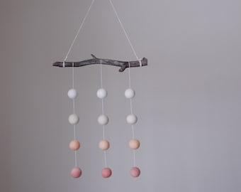 Natural-dyed, organic wool baby mobile - hand-dyed using beets and carrots