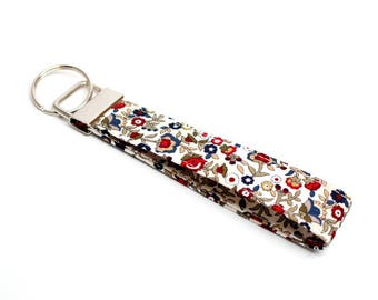 Red and Blue Blossom Fabric Key Chain / Key Fob / Wristlet - Choose Your lenght