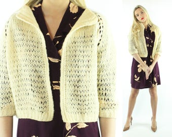 50s Handmade Cardigan Sweater Ivory Beige Wool Knit Vintage 50s X-Large XL Pinup Rockabilly