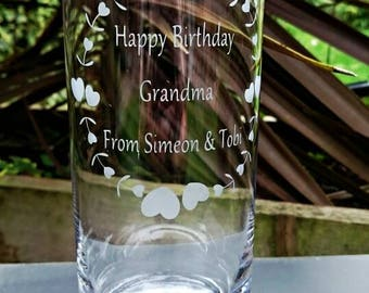Engraved Hearts and Flowers Vase - Birthday Gift, Mothers Day Gift, Grandma, Personalised Gift