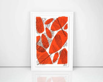 A4 Natural Leaves Screen Print