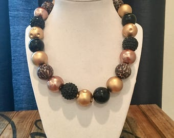 Leopard black and gold Necklace