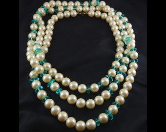 "MONET Large Faux Pearls & Aqua Glass Beads 62"" Long Necklace"
