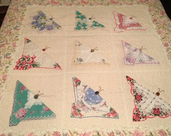 Hanky Butterfly Quilt made with vintage Hankerchief Collection accented with lovely lace