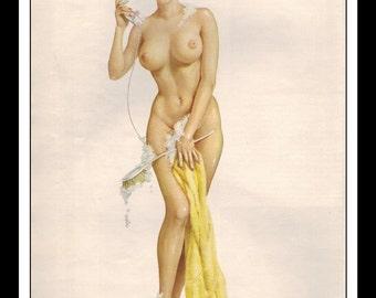 "Vargas Playboy Pinup Girl Vintage October 1965 ""Bath"" Sexy Raven Nude Mature Towel Phone Brush Wall Art Deco Print"