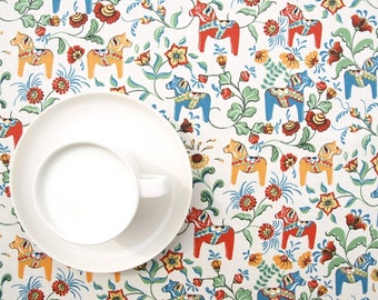 Tablecloth beige colorful orange red blue small Dala Horses table cloth , table runner , napkins , pillows , curtains available, great GIFT