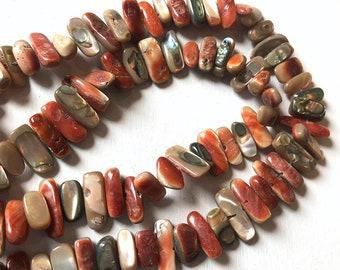 """15"""" Strand of Orange Mother of Pearl Stick beads approx 10-15mm"""