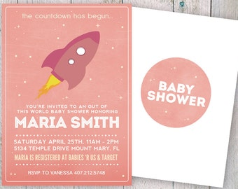 Outer Space Baby Shower Invitation, Space Baby Shower Invitation, Planet Moon Rocket Invitation