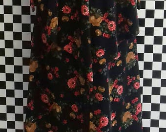 Black and floral maxi dress with attached cape and ties - medium