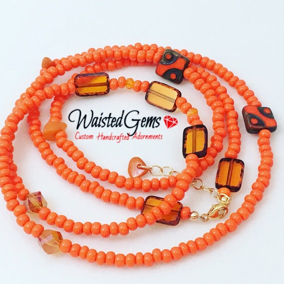 Tangerine Mist Czech Crystal Waist beads, Waist beads, body chain, body Jewelry, belly chain, Gifts for her, African Waist Beads