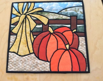 "Fall Cathedral Window Wallhanging, 12"" Square"