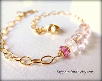 PEONY Luxe Pale Pink Morganite Beryl Gemstones, Pink Sapphire & Bali Gold Vermeil Bracelet
