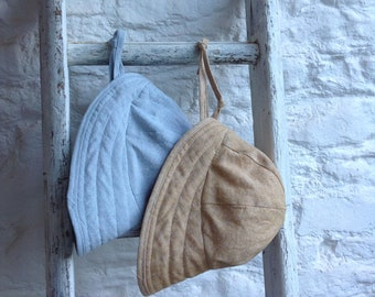 Linen brimmed sun hat, linen sun bonnet, vintage style brimmed sun hat for baby or child by Runaround Retro
