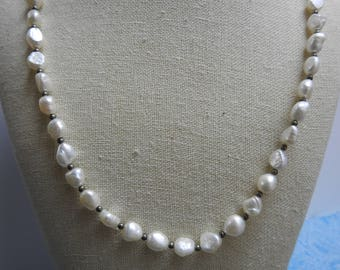 beautiful vintage coldwater creek baroque pearl and sterling silver necklace 36 inches