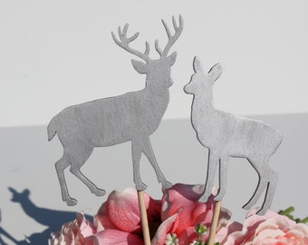 Silver Deer Wedding Cake Topper   -  Rustic Country Chic Wedding