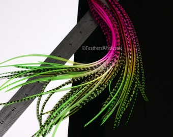 Feather Hair Extensions Magenta Lime Green Hair Feathers Watermelon 10 Feathers Diy Kit with Beads