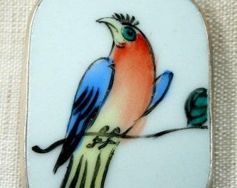 Ming Qing Dynasty Shard Necklace Pendant - Bird