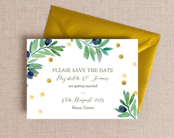 Green & Gold Olive Wreath Wedding Save the Date cards