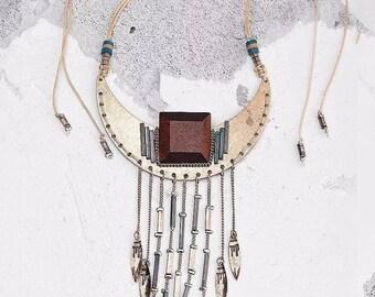 Ethnic Gold color Metal Pendant adjustable necklace