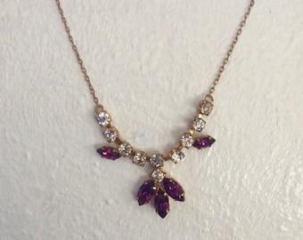Vintage Rhinestone Necklace/Matching Earrings