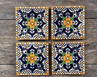 """Orange """"Escamilla"""" Mexican Tile Coasters"""