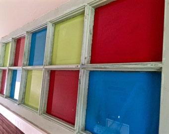 Rustic Repurposed Old Window With Colorful Glass