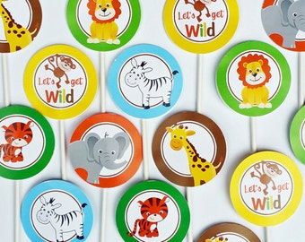Jungle Cupcake Toppers - Instant Download - Small Party Circles - Safari, Jungle, Zoo- Jungle Collection