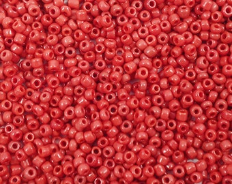 Seed beads 2 mm - opaque crimson red - 20g