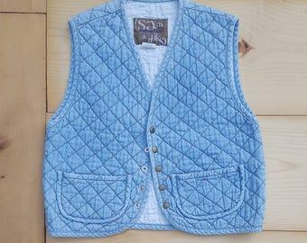 Vintage Quilted Denim Vest  //  Vtg 90s SEMANTIKS Made in the USA Distressed Faded Stone Wash Denim Vest