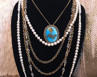 Multi-chain Blue Pendant