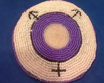 Purple and White Transgender Symbol Hand Bead Embroidered Hair Barrette