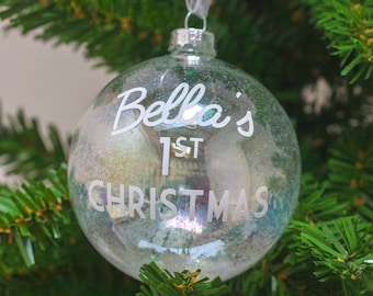Personalised Baby's First Christmas Bauble   Handmade   Christmas Gift   Glitter Bauble   Baby Gift