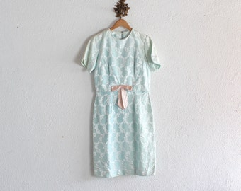 1950s Vintage Pale Blue Floral Brocade Dress/ 50s Vintage Pale Blue Floral Brocade Dress/ 50s Vintage Brocade Dress
