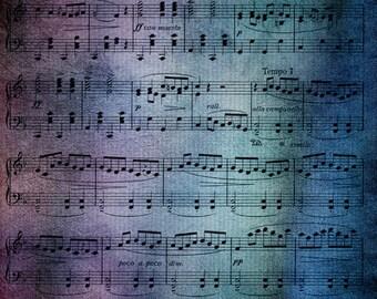 Music Throw Blanket  - Sheet music blanket throw  - blue, indigo purple - aged,  decor,  cozy gift