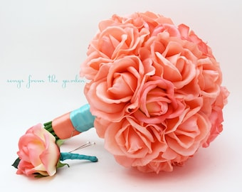 Coral Real Touch Roses Aqua Ribbon Wedding Bouquet Real Touch Silk Flower Wedding Choose Your Colors Coral Turquoise Aqua Blue