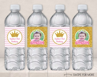 Princess Water Bottle Labels | Pink and Gold Princess Birthday Party Decorations | Baby Pink & Gold | Personalized and Printable