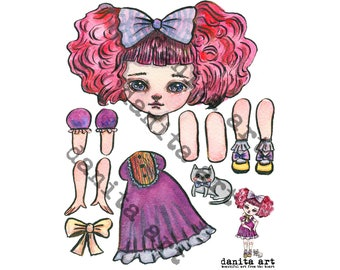 The cat lover cut-out paper doll printable template by Danita (Digital Download - Colored)